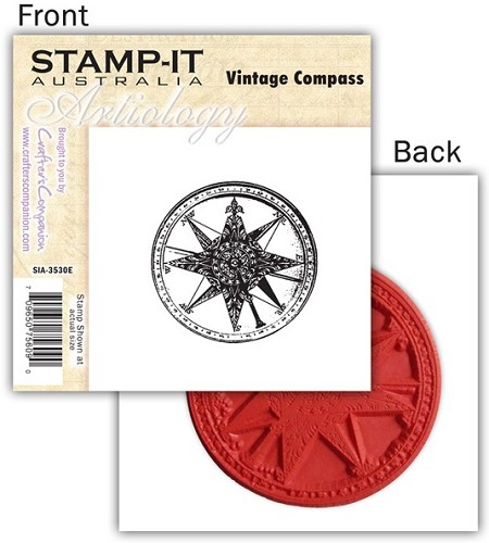 Stamp-It -EZ Mount Rubber Stamp - Vintage Compass