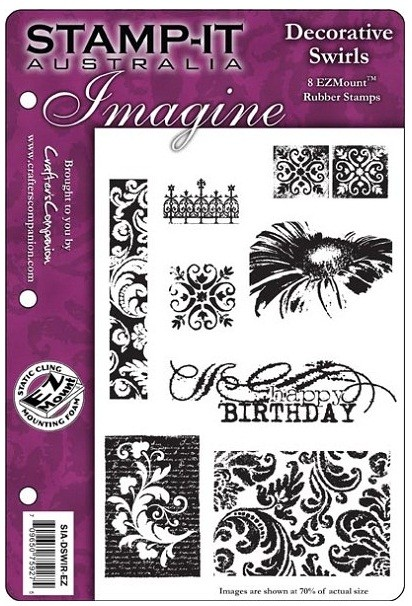 Stamp-It Australia - EZ Mount Cling Stamp Set - Decorative Swirls Set 07