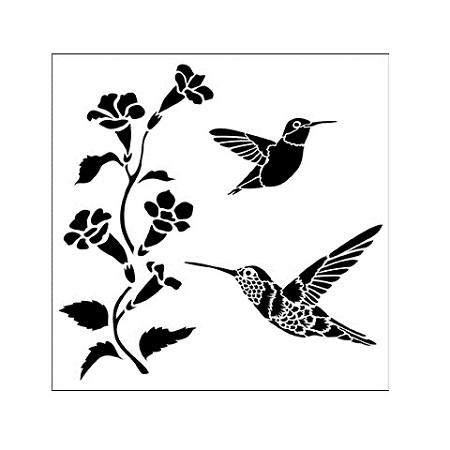 "The Crafter's Workshop 6""x6"" Stencil - Hummingbirds :)"