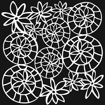 "The Crafter's Workshop 12""x12"" Stencil - Striped Flower Circle :)"