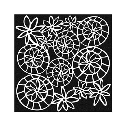 "The Crafter's Workshop 6""x6"" Stencil - Striped Flower Circle :)"