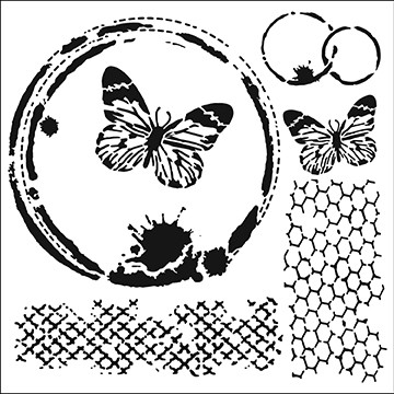"The Crafter's Workshop 12""x12"" Stencil - Butterfly Collage"