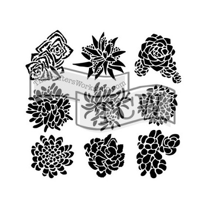 "The Crafter's Workshop 6""x6"" Stencil - Pretty Succulents :)"