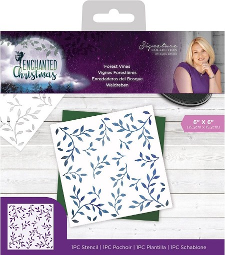 "Crafter's Companion - Enchanted Christmas Collection by Sara Davies - Forest Vines 6""x6"" Stencil"