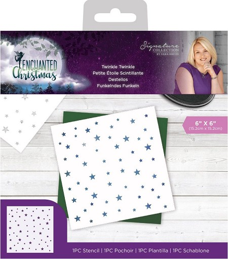 "Crafter's Companion - Enchanted Christmas Collection by Sara Davies - Twinkle, Twinkle 6""x6"" Stencil"