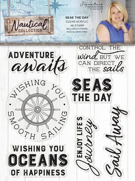 Crafter's Companion - Nautical Collection by Sara Davies - Seas the Day Clear Stamps