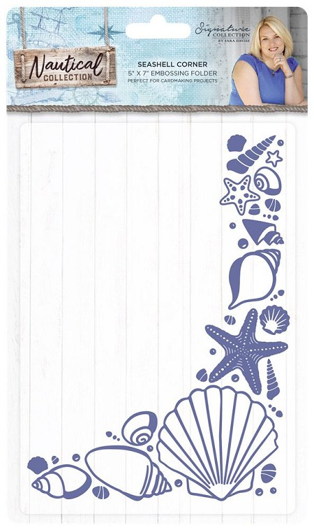 Crafter's Companion - Nautical Collection by Sara Davies - 5x7 Seashell Corner Embossing Folder