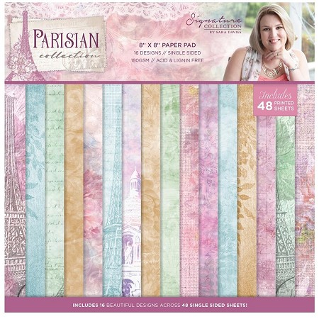 "Crafter's Companion - Parisian Collection by Sara Davies - 8""x8"" Paper Pad"