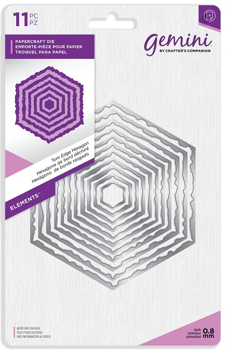 Crafter's Companion - Gemini Collection - Torn Edge Hexagon Die Set