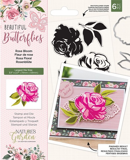 Crafter's Companion - Beautiful Butterflies Collection - Rose Bloom Clear Stamps & Die Set