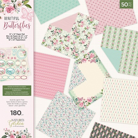 "Crafter's Companion - Beautiful Butterflies Collection - 12""x12"" Paper & Sticker Pad"