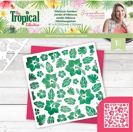 "Crafter's Companion - Tropical Collection by Sara Davies - Hibiscus Garden 6""x6"" Stencil"