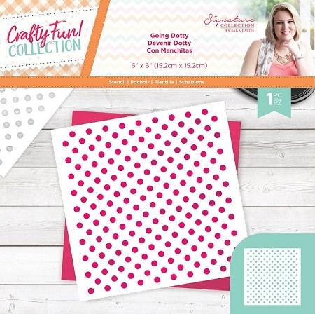 "Crafter's Companion - Crafty Fun! Collection by Sara Davies - Going Dotty 6""x6"" Stencil"