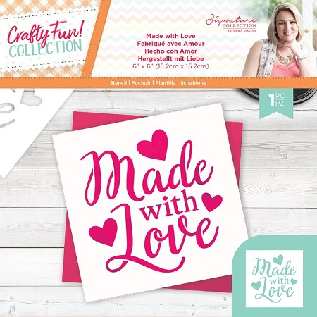 "Crafter's Companion - Crafty Fun! Collection by Sara Davies - Made with Love 6""x6"" Stencil"