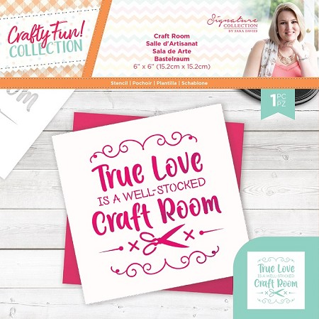 "Crafter's Companion - Crafty Fun! Collection by Sara Davies - Craft Room 6""x6"" Stencil"