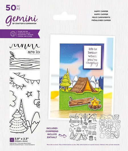 Crafter's Companion - Happy Camper Gemini Clear Stamps & Die Set