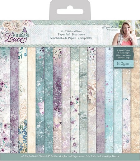 "Crafter's Companion - Vintage Lace Collection by Sara Davies - 6""x6"" Paper Pad"