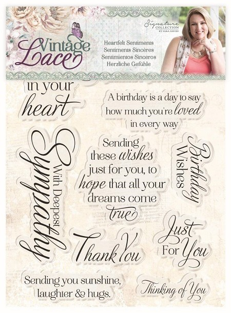 Crafter's Companion - Vintage Lace Collection by Sara Davies - Heartfelt Sentiments Clear Stamps