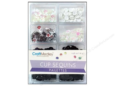 Craft Medley - Sequins - Black & White Classic Assortment (7mm)