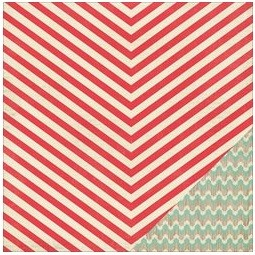 "Crate Paper - Bundled Up Collection - 12""x12"" Double Sided Cardstock - Candy Cane"