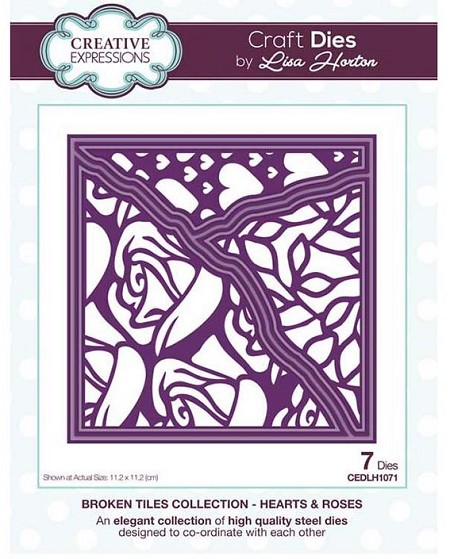 Creative Expressions - Die - Broken Tiles Collection Hearts & Roses by Lisa Horton