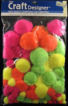 Darice-Big Value Assortment Pom Poms-Neon
