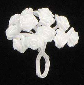 "Darice - 1/2"" Satin Ribbon Roses - Rainbow (white with iridescent glow)"