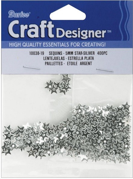 Darice - Sequins - 5mm - Silver Stars