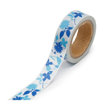 "Darice - Washi Tape - 5/8"" x 315 Inch roll - Blue Flowers Print"
