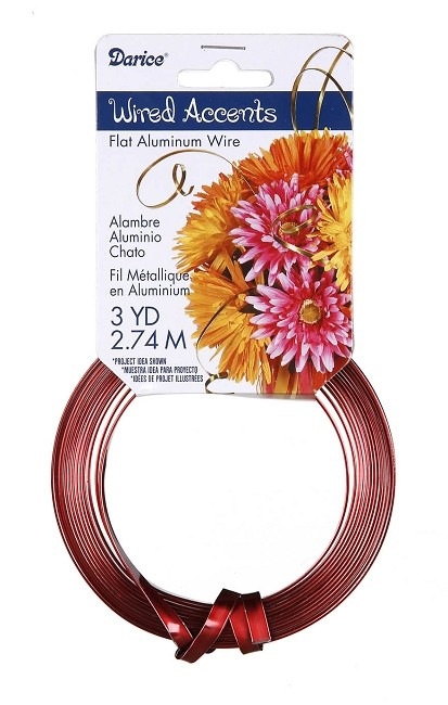 Darice - Flat Floral Wire Accents - Red (3 Yds)