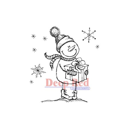 Deep Red Stamps - Cling Stamp - Snow Boy with Gift
