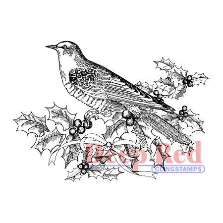 Deep Red Stamps - Cling Stamp - Bird & Holly