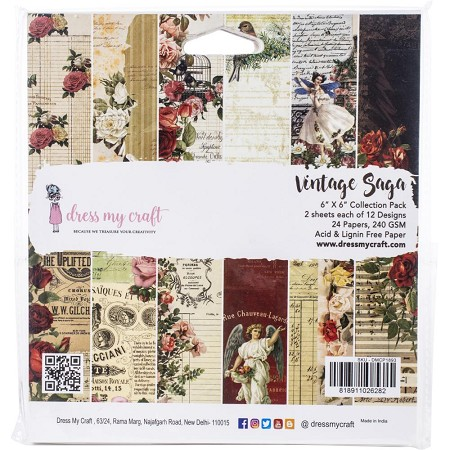 Dress My Craft - Vintage Saga 6x6 Cardstock Pad