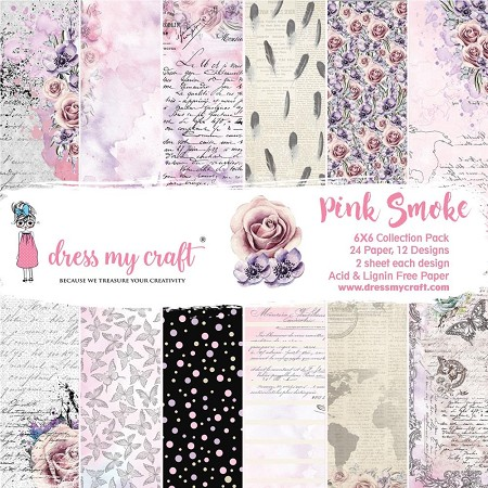 Dress My Craft - Pink Smoke 6x6 Cardstock Pad