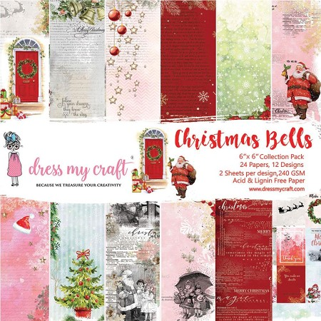 Dress My Craft - Christmas Bells 6x6 Cardstock Pad