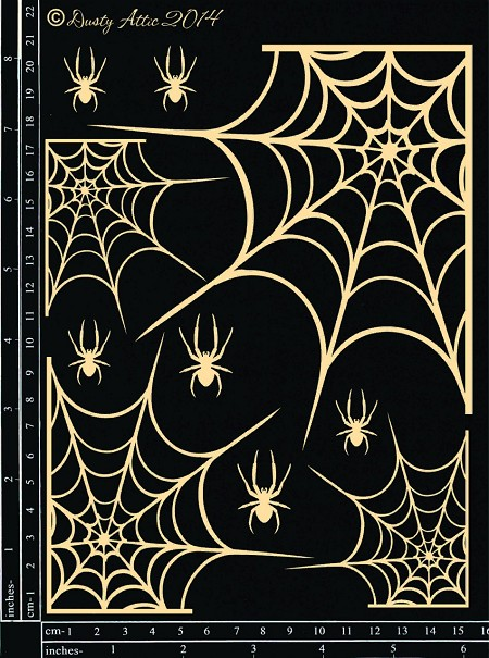 Dusty Attic Chipboard - Spiders and Webs set
