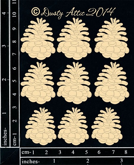 Dusty Attic Chipboard - Mini Pinecones