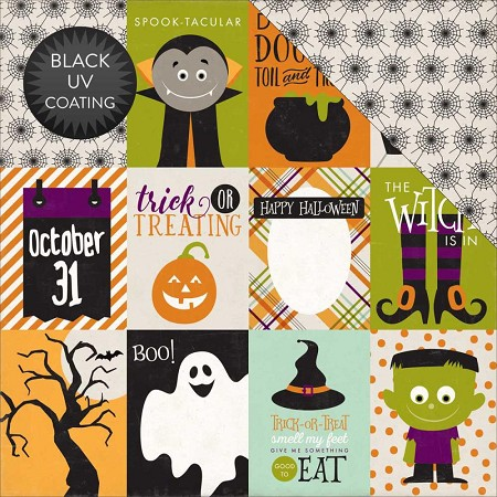 "Echo Park - Halloween Collection - 12""x12"" Cardstock - Journaling Cards 3x4"