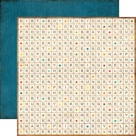"Echo Park - All About A Boy Collection - 12""x12"" Double Sided Paper - Scrabble (Full pack of 25 sheets)"