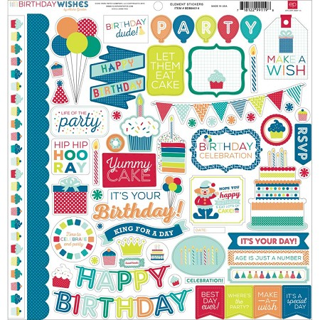 Echo Park - Birthday Wishes Collection - Boy Element Sticker Sheet :)