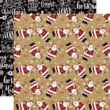 "Echo Park - Celebrate Christmas Collection - 12""x12"" Cardstock - Here Comes Santa"