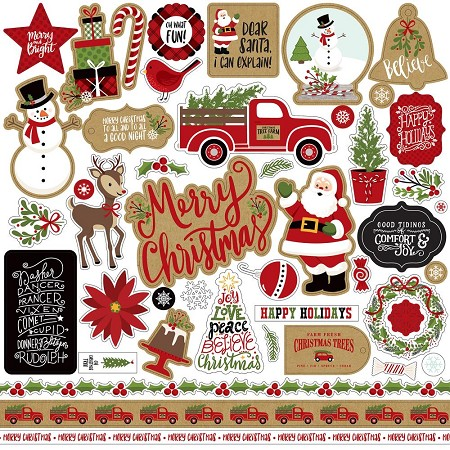 "Echo Park - Celebrate Christmas Collection - 12""x12"" Cardstock Element Stickers"