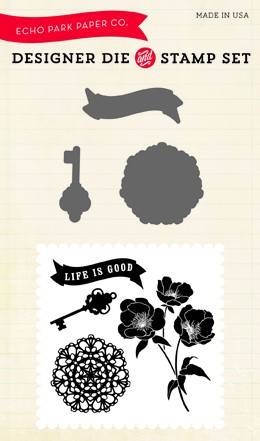Echo Park - Designer Die & Clear Stamp Combo Set - Life is Good :)
