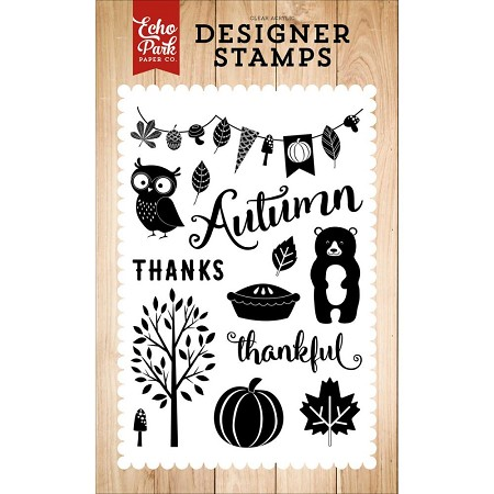Echo Park - Fall Is In The Air Collection - Feeling Thankful Clear Stamps