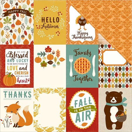 "Echo Park - Fall Is In The Air Collection - 12""x12"" Cardstock - Journaling Cards 3x4"
