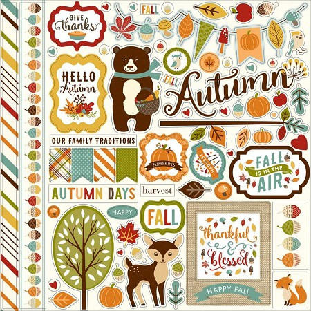 "Echo Park - Fall Is In The Air Collection - 12""x12"" Element Sticker"