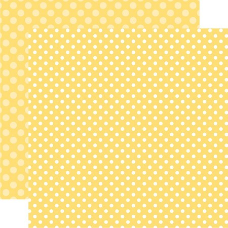 "Echo Park - Dots & Stripes - 12""x12"" Cardstock - Spring Banana Cream Dot"