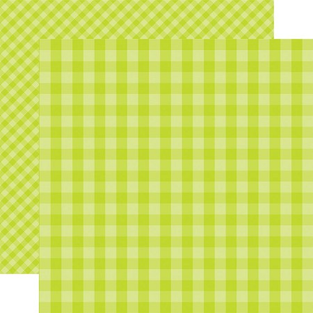 "Echo Park - Dots & Stripes - 12""x12"" Cardstock - Spring Gingham Key Lime"