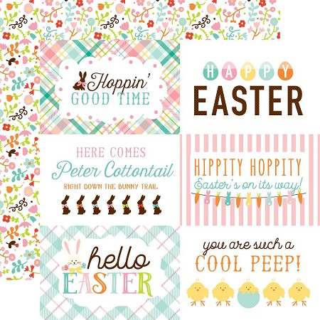 "Echo Park - Hello Easter Collection - 12""x12"" Cardstock - 4""X6"" Journaling Cards"