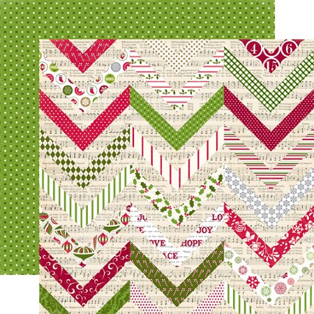 "Echo Park - Home For the Holidays - 12""x12"" Cardstock - Festive Chevron"